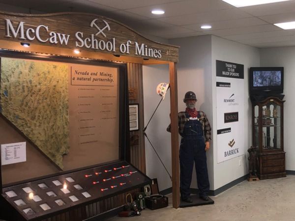 Interactive mineral mines map inside classroom building